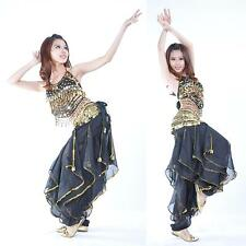 New Belly Dance Costume top &gold wavy pants No Scarf Belt 12 colours