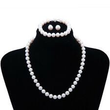 Freshwater 8-9mm Pearl Necklace Bracelet &  Earring Set