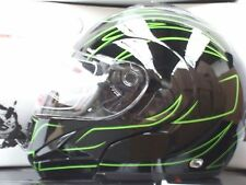 FLIP FRONT MOTORCYCLE CRASH HELMET BLACK/GREEN S,M,L,XL
