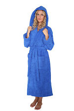Womens Hooded Turkish Terry Cotton Bathrobe Luxury Hotel Spa Robe