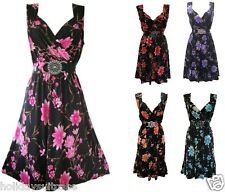 Plus size 8-26 UK Ladies womans summer holiday evening best party dress flowers