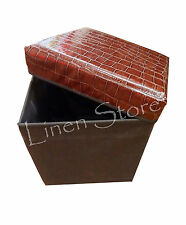 STORAGE OTTOMAN FOOTSTOOL BOX CHAIR, SNAKE LEATHER LOOK