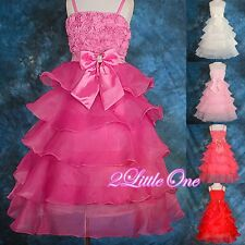 Tiered Embossed Flower Girl Pageant Dress Wedding Birthday Party Size 2T-9 FG136