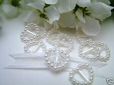 100 Pearl Ribbon Buckles/Slider Heart Shaped Wedding Invitation Decoration
