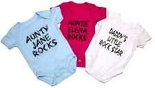 Funky PERSONALISED baby vest/babygrow Aunty/Mummy/Daddy/Brother/Sister ROCKS!