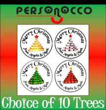 70 Personalised Christmas Card/Present Sticker Seals/Labels Choice of 10 trees!