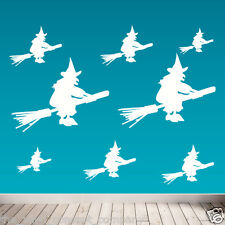 Halloween Stickers, Flying Witches Halloween Wall Stickers, Decals Stickers, Art