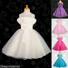 Tulle Wedding Flower Girl Bridesmaid Dresses Party Holiday Occasion Age 2-9y 137