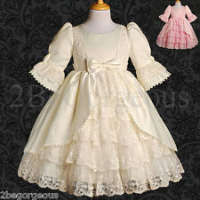 Satin & Lace Dress Wedding Flower Girl Bridesmaid Communion Party Size 1-9y 003