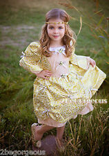 Girl Golden Party Costume Vintage Victorian Fancy Occasion Dress Age 18M-10y 005