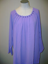 Linea by Louis Dell'Olio Chiffon Tunic w/Pleated Pearl Trim Orchid/Pink  NWOT