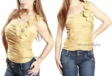 Floral Origami Ruffle One Shoulder Top Shirt Clubbing Cocktail Ruch Mustard NEW