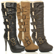WOMENS LADIES PLATFORM AVIATOR SHEARLING KNEE HIGH HEEL FUR BOOTS SIZE