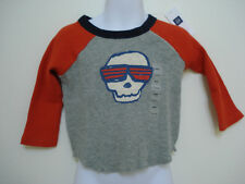 BABY GAP BOYS GRAY AND ORANGE THERMAL SKULL LONG SLEEVE T SHIRT NWT