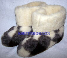 SHEEP WOOL SLIPPERS BOOTY STYLE 100% NATURAL WOOL as warm as sheepskin US Men