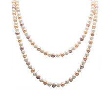 "60"" Freshwater Cultured Pearls Necklace in Natural Cream White or Multi-Color"