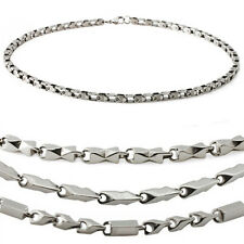 Mens Stainless Steel Chain Necklace ~ Bike Chian w/ Tribal or Diamond Cut Design