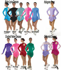 Ice Skating Dress Velvet Lycra Roller Skirted Leotard FREE Matching Scrunchie