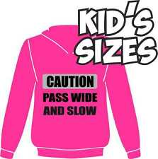 KIDS HI VIZ FLO FLOURESCENT NEON REFLECTIV HORSE RIDING HOODIE PASS WIDE & SLOW