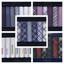 SET OF 7 100% COTTON MENS HANDKERCHIEFS CHOICE OF 4 STYLES BOXED HANKIES HANKYS