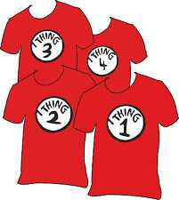 Kids Red T shirt / Tee shirt Thing 1,2,3 or 4. Dr Seuss-Cat in the hat Free P&P