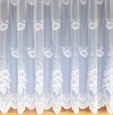 Floral White Net Curtain Fantastic Quality Lightweight Net In 11 sizes 3954