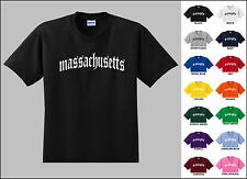 State of Massachusetts Old English Font Vintage Style Letters T-shirt