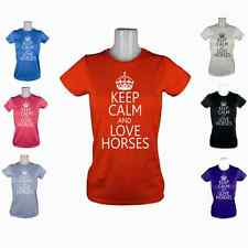 NEW LADIES KEEP CALM LOVE HORSES COB PONY RIDING CLOTHES JODHPURS T-SHIRT XS-XL