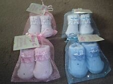 BABY BOY/GIRL TEDDY BEAR  BOW BOOTIES/SOCKS 0-6 months, BLUE.WHITE,PINK,UNISEX