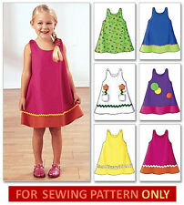 SEWING PATTERN! MAKES A-LINE DRESS/SUNDRESS~APPLIQUE! SIZES TODDLER 1 TO CHILD 6