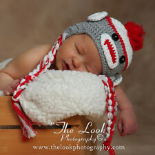 Melondipity Boy Sock Monkey Beanie Baby Hat Crochet Knit Animal Braids Red Gray