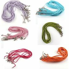 20pcs Braided Mixed Leather Necklace Cord With Lobster Clasp 46cm Pick Color