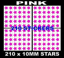210 x 10mm Star Shaped Coloured Stickers,Many Colours, Star Sticky Label Dots