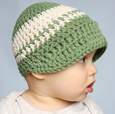Melondipity Boy Green Crochet Visor Beanie Baby Hat Striped White Knit Cap