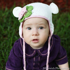 Melondipity White Crochet Beanie Baby Hat Flower Pink Green Knit Braids Animal