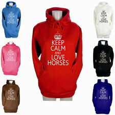 LADIES KEEP CALM AND LOVE HORSES HOODIE GIRLS PONY RIDING GIFT HOODY XS S M L XL