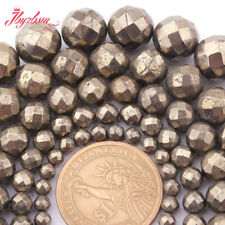 """Natural Round Faceted  Silver Gray Pyrite Gemstone Spacer Beads 15"""" 4mm 6mm 8mm"""