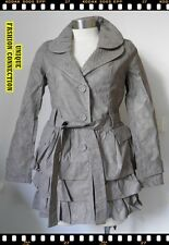NEW WOMENS GREY FAUX LEATHER LONG JACKET-SZ 8, 10, 12, 14, 16