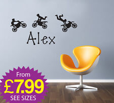 Childrens Wall Stickers, Personalised Names, Removable stickers, Motor Bikes
