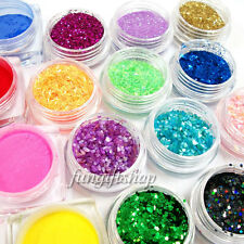 18 Color Decoration for Nail Art UV Gel Tip Glitter Dust Acrylic Powder Shell