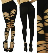 Black Sexy Spandex Ripped Fishnet Opaque Slashed Leggings Footless Pantyhose MLH