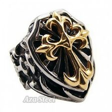 Men's Huge Heavy Gold Knight Fleur De Lis Cross Stainless Steel Ring Size 7-15