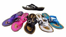 Brand New SILICONE RUBBER JELLY WEDGE HEEL SANDAL Toe Post Thong Diamante Buckle