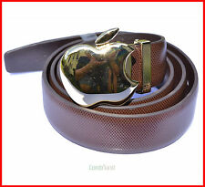 Fashion cool golden apple buckle  coffee genuine leather man  belt