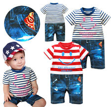 6-24M Baby Boy/ Twins Smiley Face Stripes T-Shirt + Jeans Bodysuit Romper Outfit