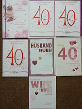 40TH RUBY WEDDING ANNIVERSARY CARDS MUM & DAD WIFE HUSBAND YOUR CARTE BLANCHE
