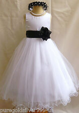 WHITE BLACK WEDDING PAGEANT DAVIDS FLOWER GIRL DRESS 18M 24M 2 4 6 8 10 12 14