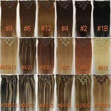 Any Color&Length Clip In Human Hair Extensions Real Human Hair Free Shipping New