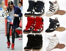 NEW 2012 Woman's Lady's High Top Strap Sneakers Shoes Wedge Ankle Boots
