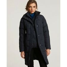 High End Department Store Matte Down Coat with Knit Collar Blue NWT